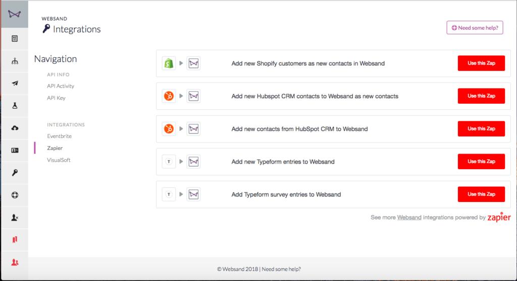 Zapier integration with Websand