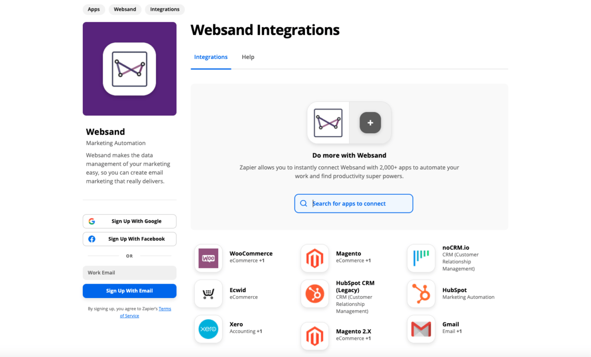 Websand Zapier email marketing integration